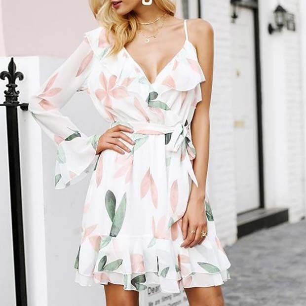 Trendy One Sleeve Wedding Guest Dress