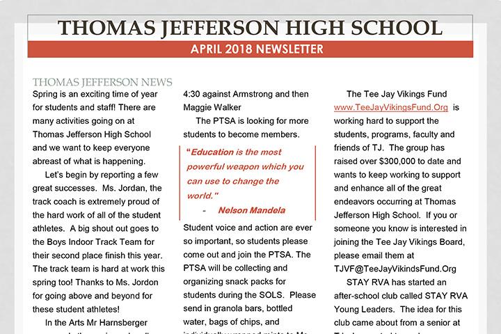 Thomas Jefferson High School Newsletter - STAY RVA