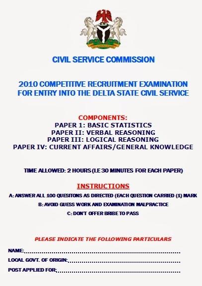 Delta State Civil Services Commission Recruitment Past Question - St