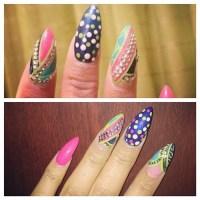 Nicki Minaj Hot Pink, Navy Blue, Teal Beads, Colorblock ...