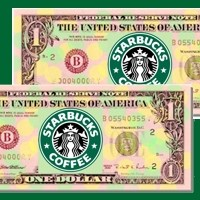 dollar bills with ads