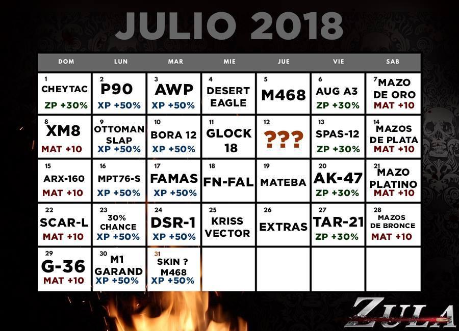 ZULA Latino America  CALENDARIO JULIO 2018