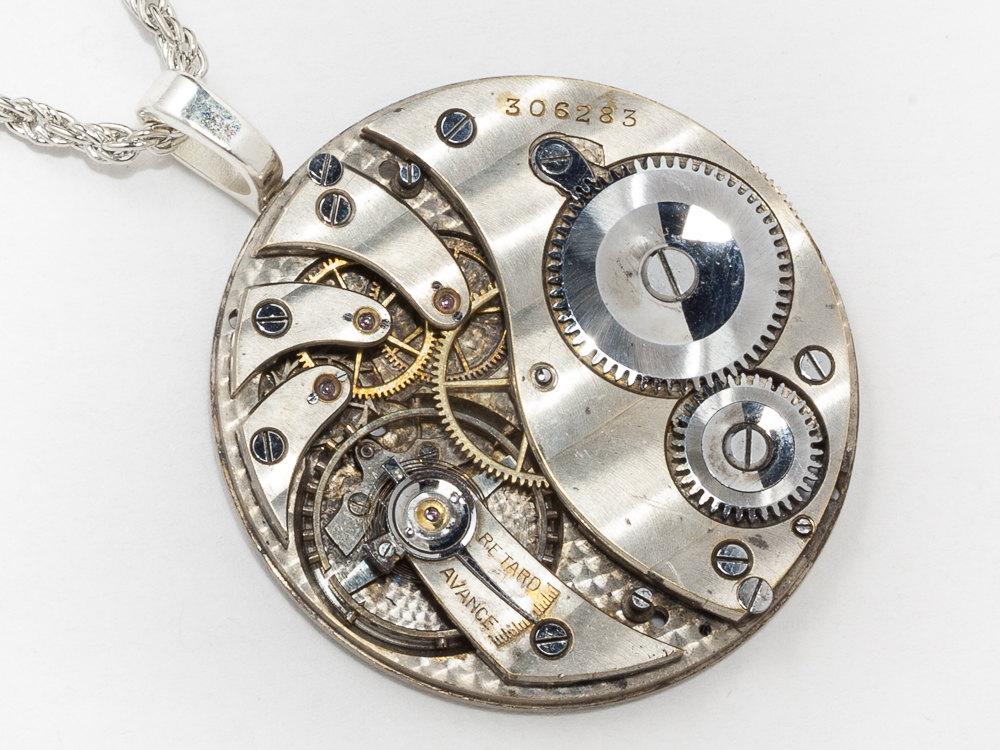 Steampunk Clockwork Necklace Pocket Watch Movement With