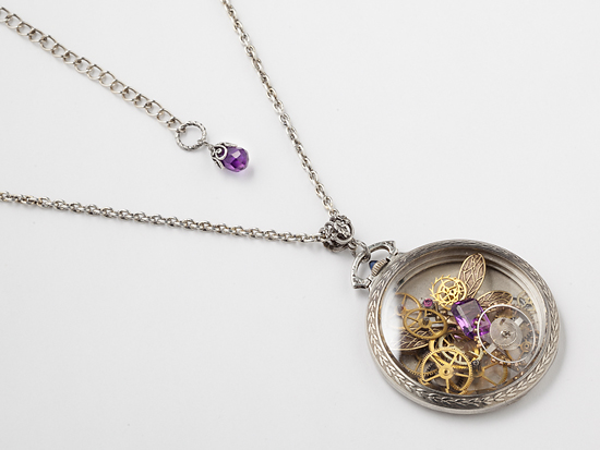 jewels pocket and chain ruby silver crystal necklace clockwork watch blue pendant movement jewelry with steampunk