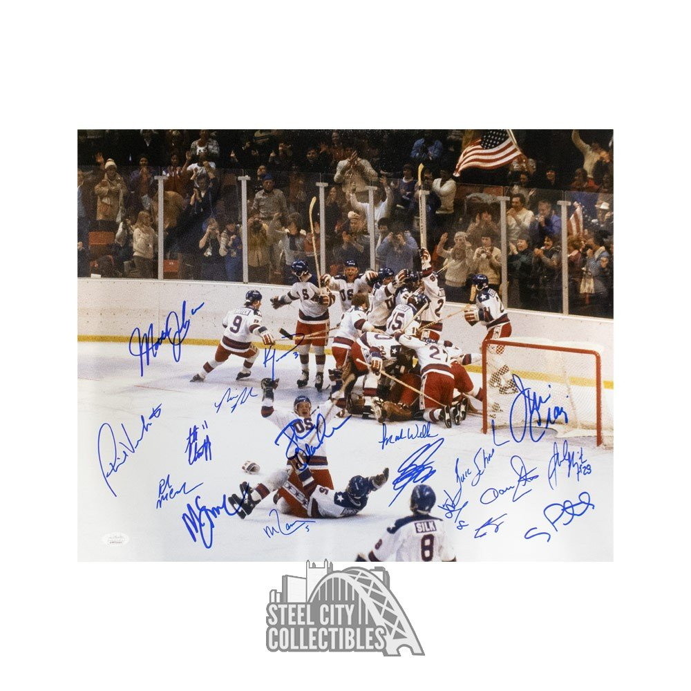 Toddler In Car Entertainment 1980 Usa Hockey Team Autographed 16x20 Jsa Coa 18