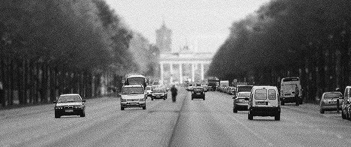 Black-and-white shot of cars on Straße des 17.Juni, Berlin
