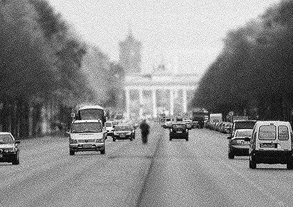 Black-and-white shot of cars on Straße des 17.Juni, Berlin