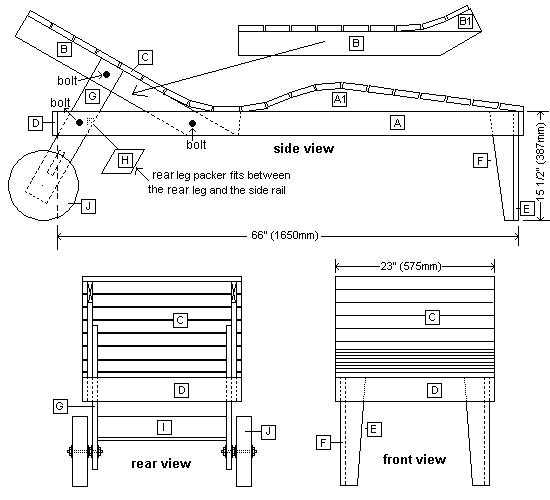 Sun lounger plan - Parts list Woodworking Plans Pinterest