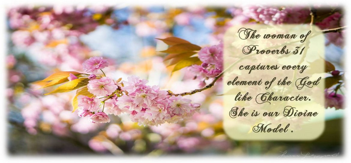 The Woman of Proverbs 31 captures every element of the God like Character. She is our Divine Model.