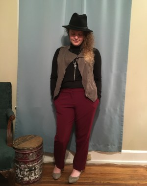 The vest she found, from Target, looks amazing with these pants, and I love the new flats she chose from DSW. She wore them with her own pants, hat and jewelry, and the look is amazing!