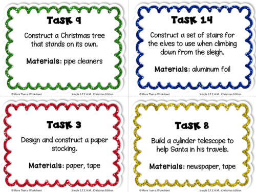 Simple STEAM Christmas free task cards