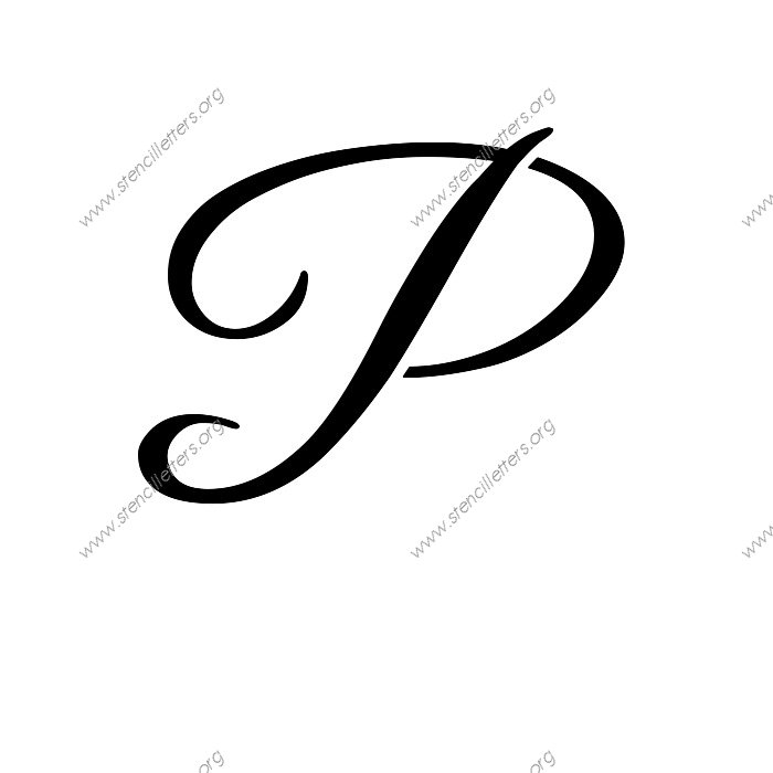 Elegant Calligraphy Uppercase  Lowercase Letter Stencils A-Z 1/4 to