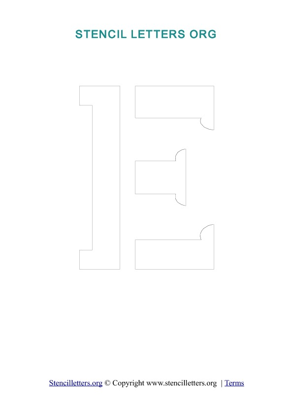 A-Z Letters in PDF Stencil Templates - Style 1 Outline Stencil