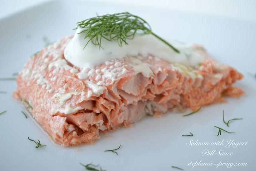 Salmon with yogurt dill sauce Recipe at: stephanie-spring.com