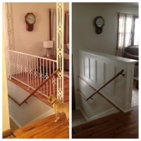 Entry Stair Railing  Split Foyer | Stephanie King Design