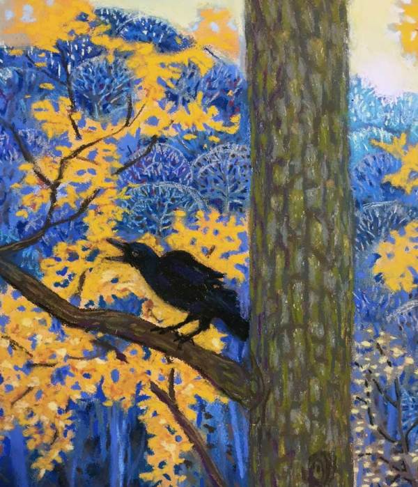 "Crow from ""Seven Crows on the Edge of Dusk"" a pastel painting by Stephanie Thomas Berry"