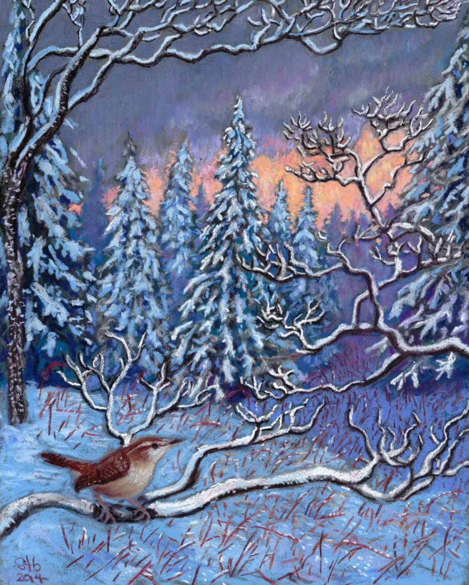 Innocence, a pastel by Stephanie Thomas Berry featuring a Carolina Wren surveying the sunrise on a snow-covered landscape