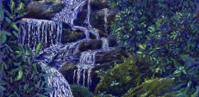Roaring Fork Falls, Burnsville, NC, pastel by Stephanie Thomas Berry