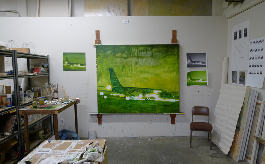 Aircraft painting in progress