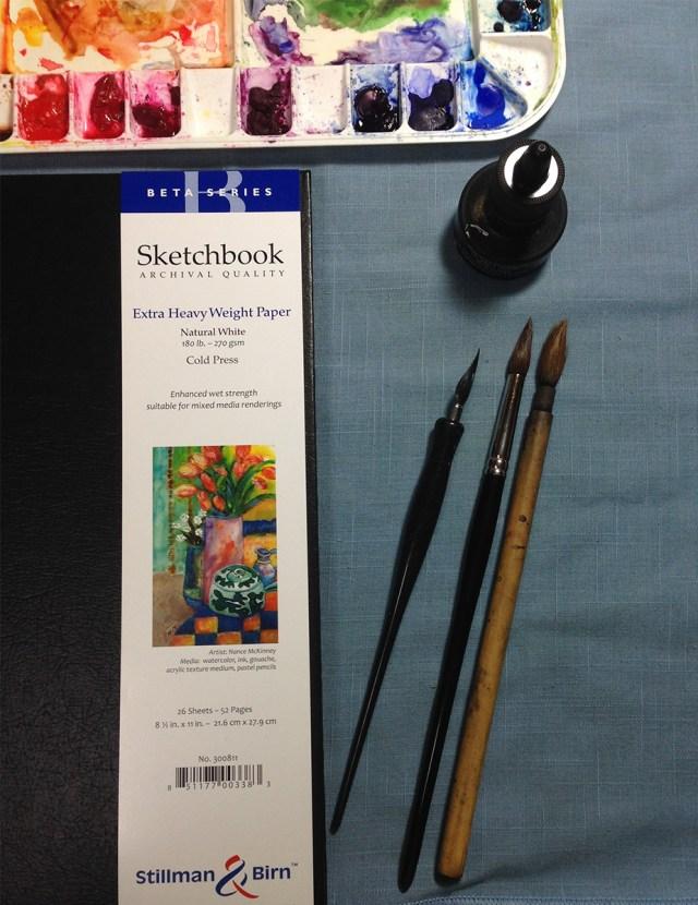 Materials: Ink, watercolor, paper, dip pen and brushes