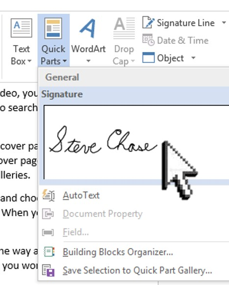 Sign a Word document with your signature Steve Chase Docs - on word