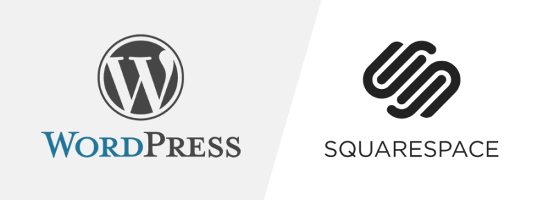 wordpress logo next to SquareSpace logo