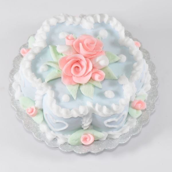 3d Birthday Wallpaper Blue Flower Cake W White Hearts And Pink Roses Stewart