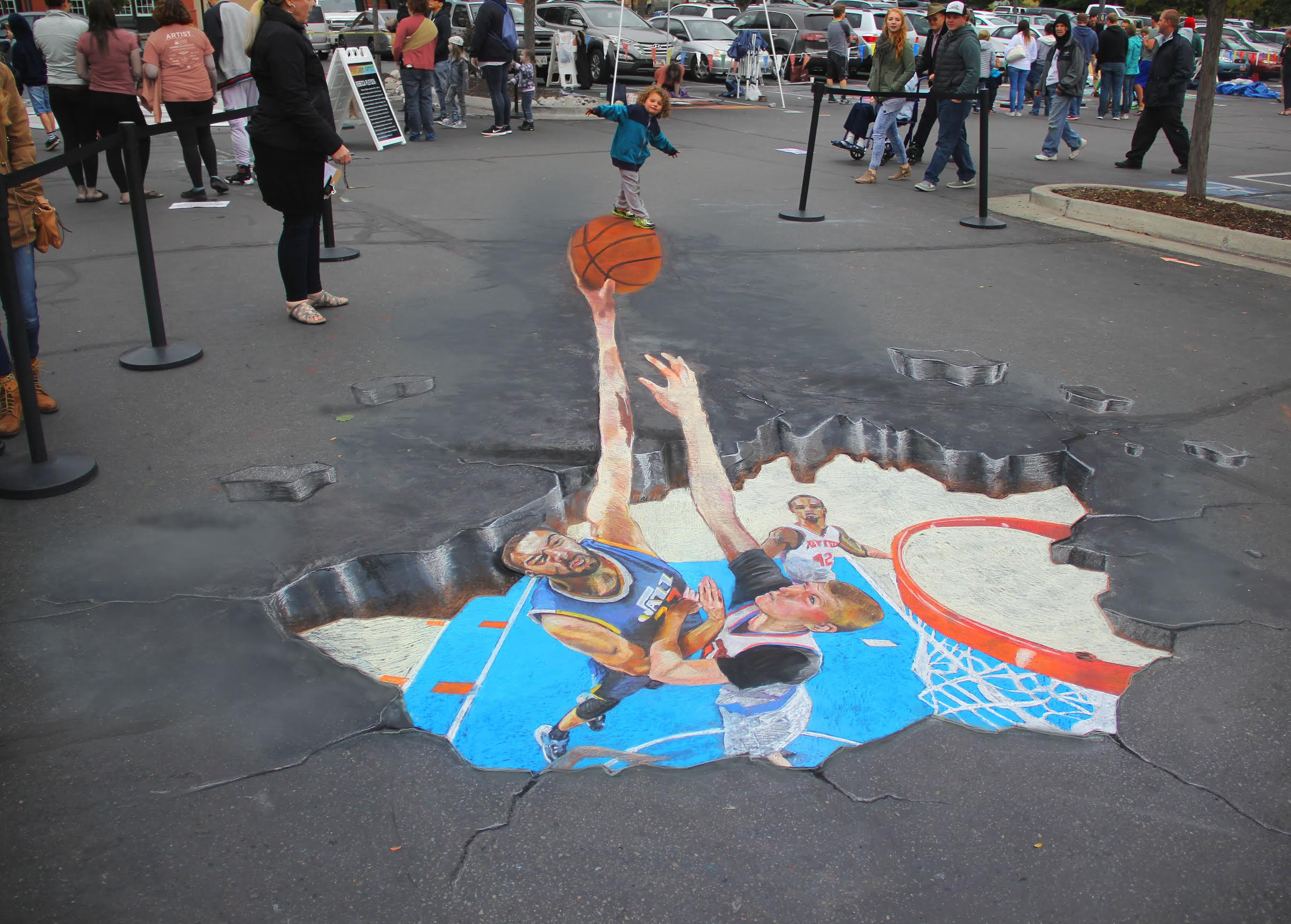 Tivoli Ny Street Painting Festival Diamond Ranch Teacher Goes For Slam Dunk Inspires Student