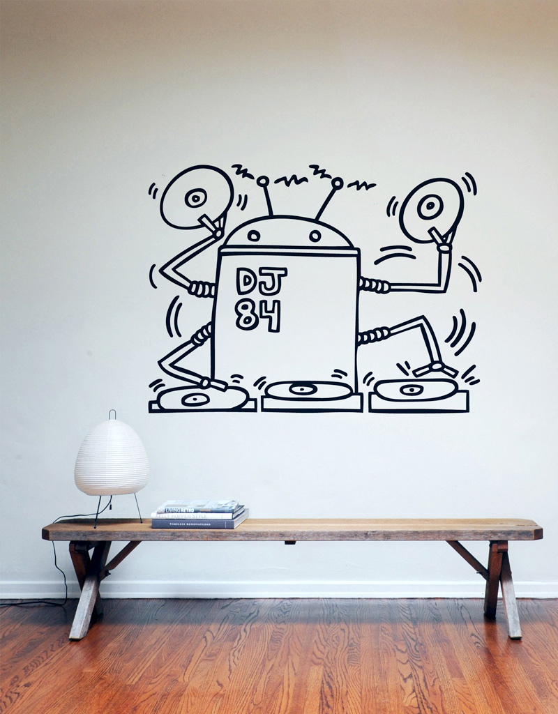 Keith Haring Wall Decals Dj Robot 1984 Wall Sticker Only