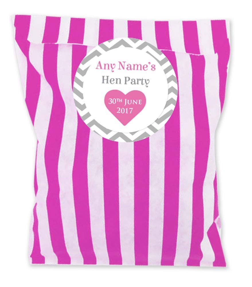 Personalised Sticker Hen Party Personalised Stickers Bags Packs Of 24 Pink Or