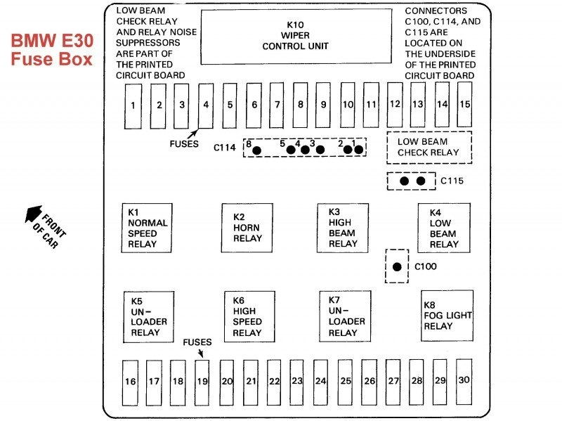 1987 bmw 325 fuse box diagram