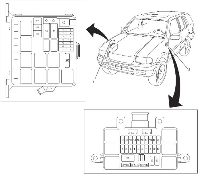 isuzu rodeo fuse box layout