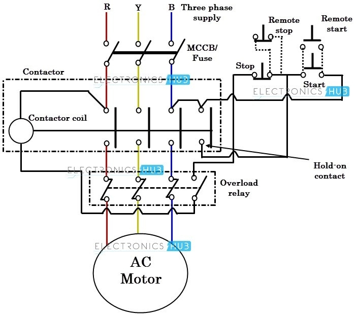 3 phase contactor wiring diagram with switch