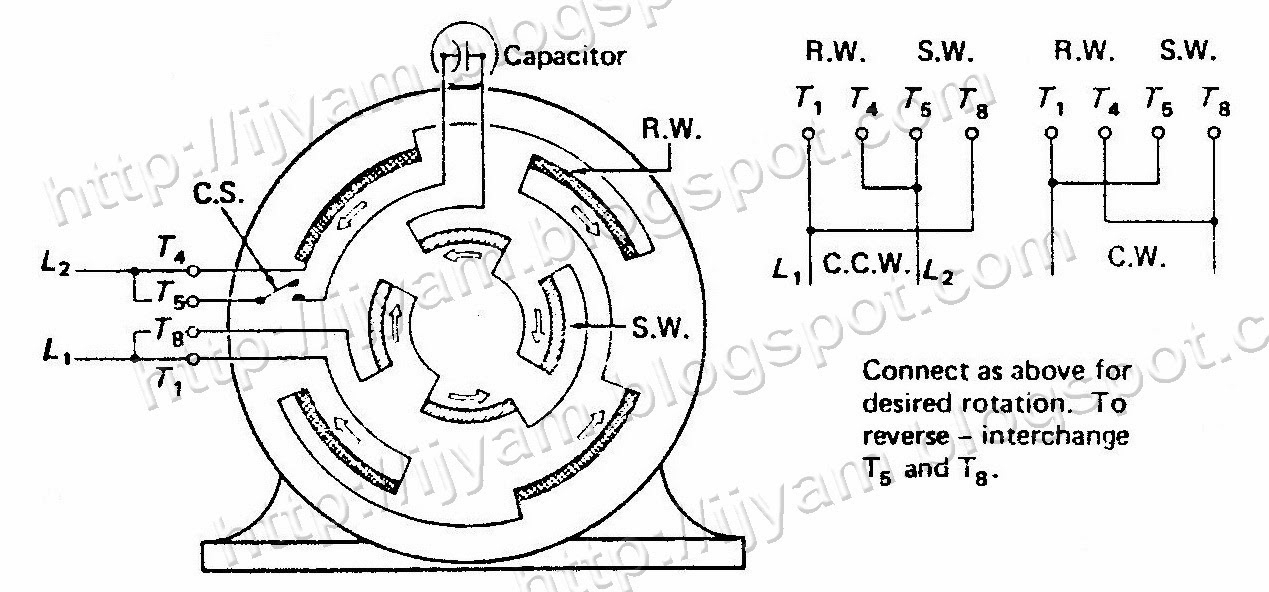 wiring diagram capacitor start motor
