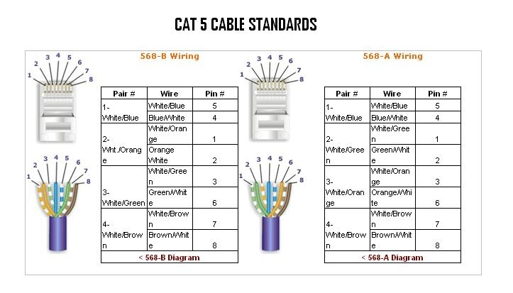category 5 wiring layout