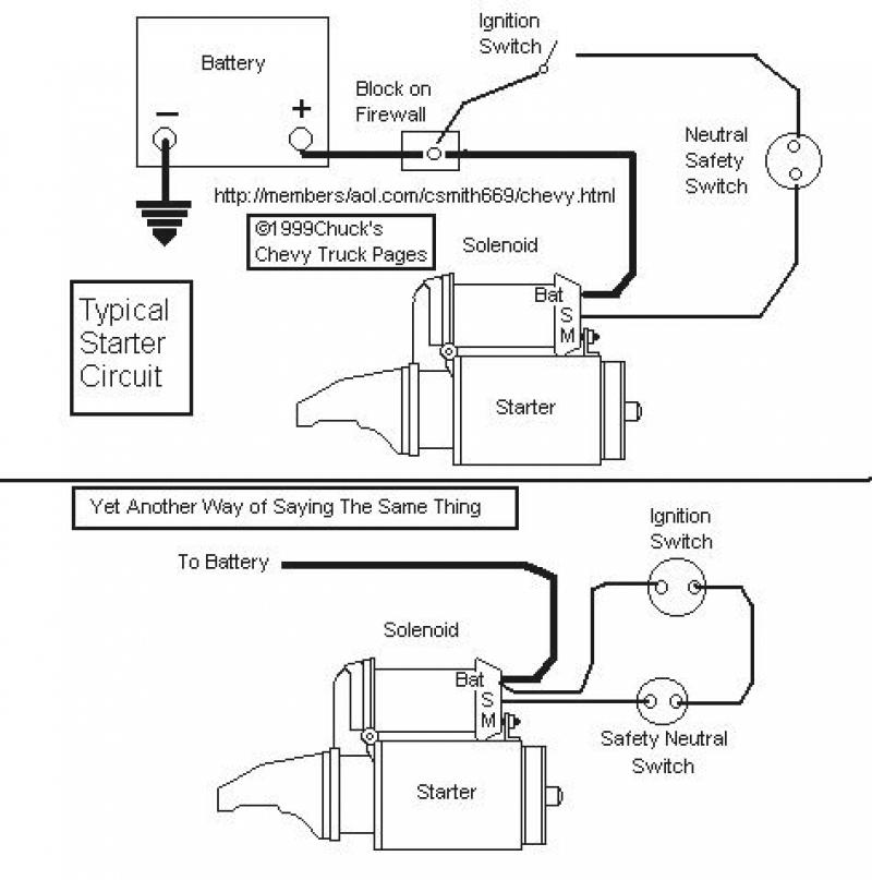 chevrolet starter connection schematic