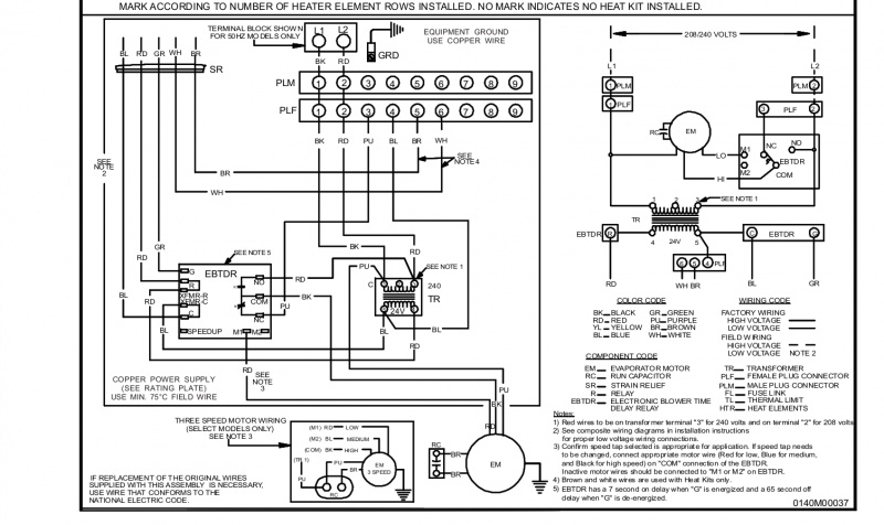 goodman air handler to thermostat wiring diagram