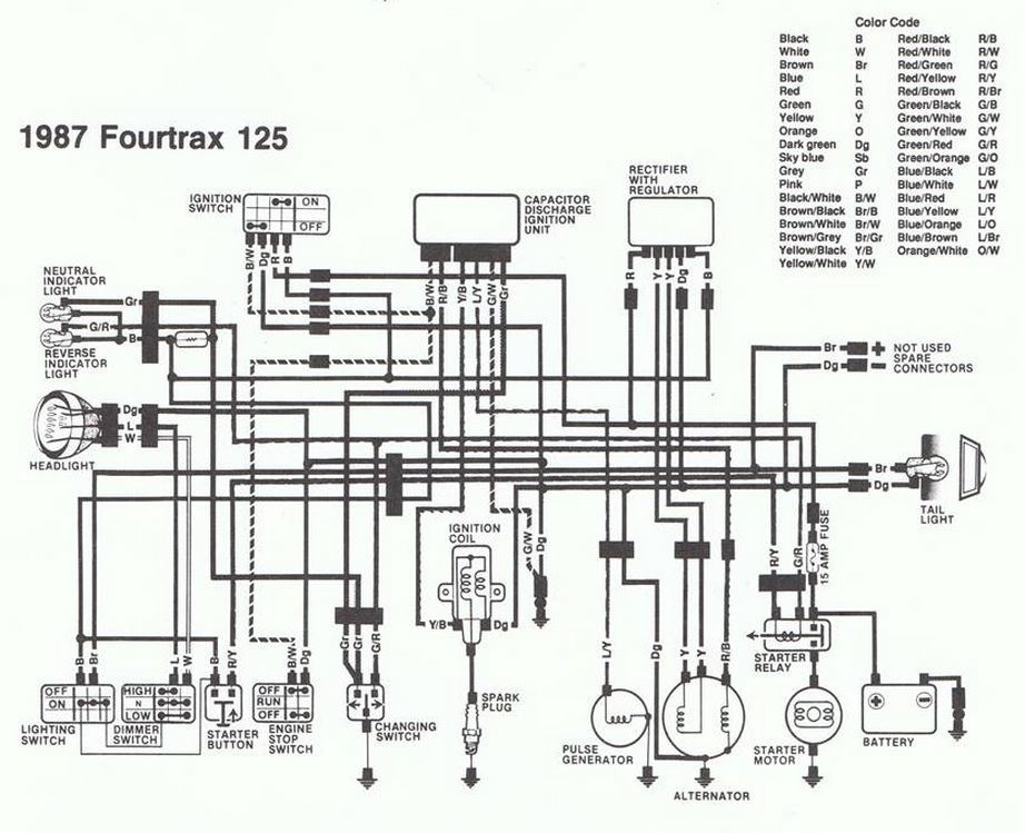 1988 honda fourtrax 300 wiring diagram