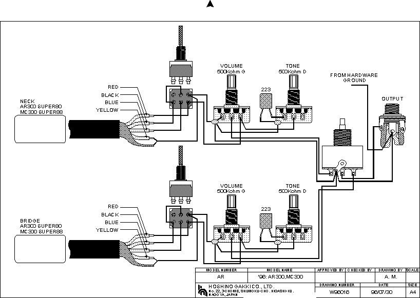 wiring diagram bass guitar pickup