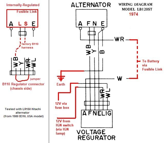 tractor alternator with voltage regulator wiring diagram