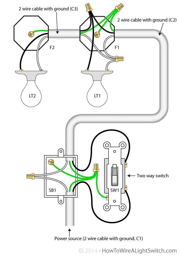 wiring diagrams for 2 way lighting switches