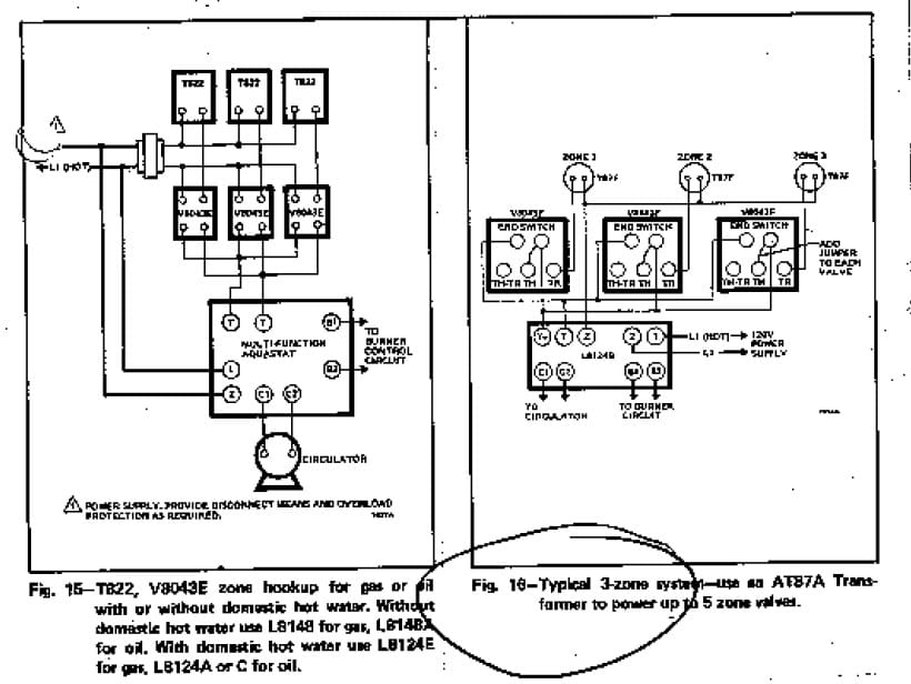 wiring diagram for a thermostat to zone valve