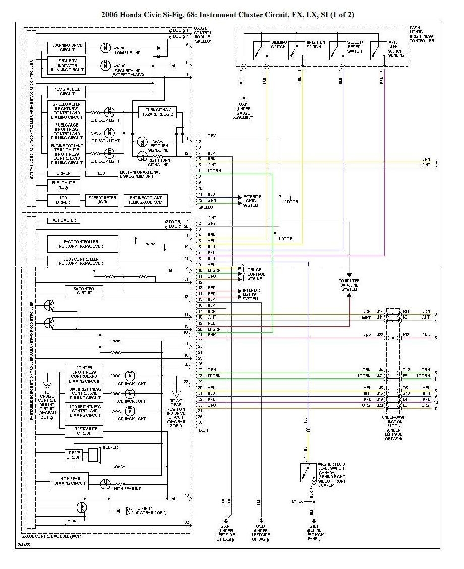 99 honda civic cluster wiring diagram