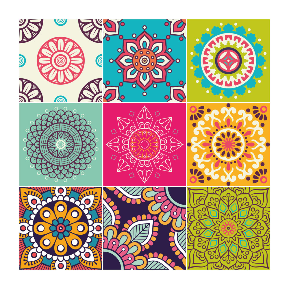 Carreaux De Ciment Texture Stickers Carreaux De Ciment Mandala Sticker Mural Stickerdeco Fr
