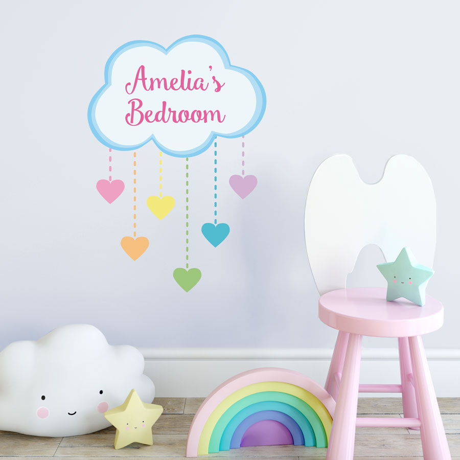 Personalised Sticker Personalised Rainbow Hearts Wall Sticker