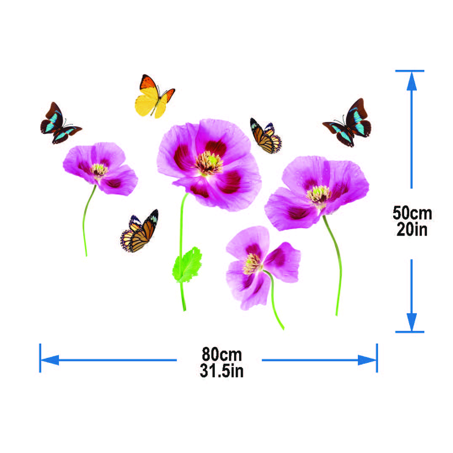 Shop butterflies and purple tulips wall decal dubai sharjah abu dhabi uae online from souq jadopado