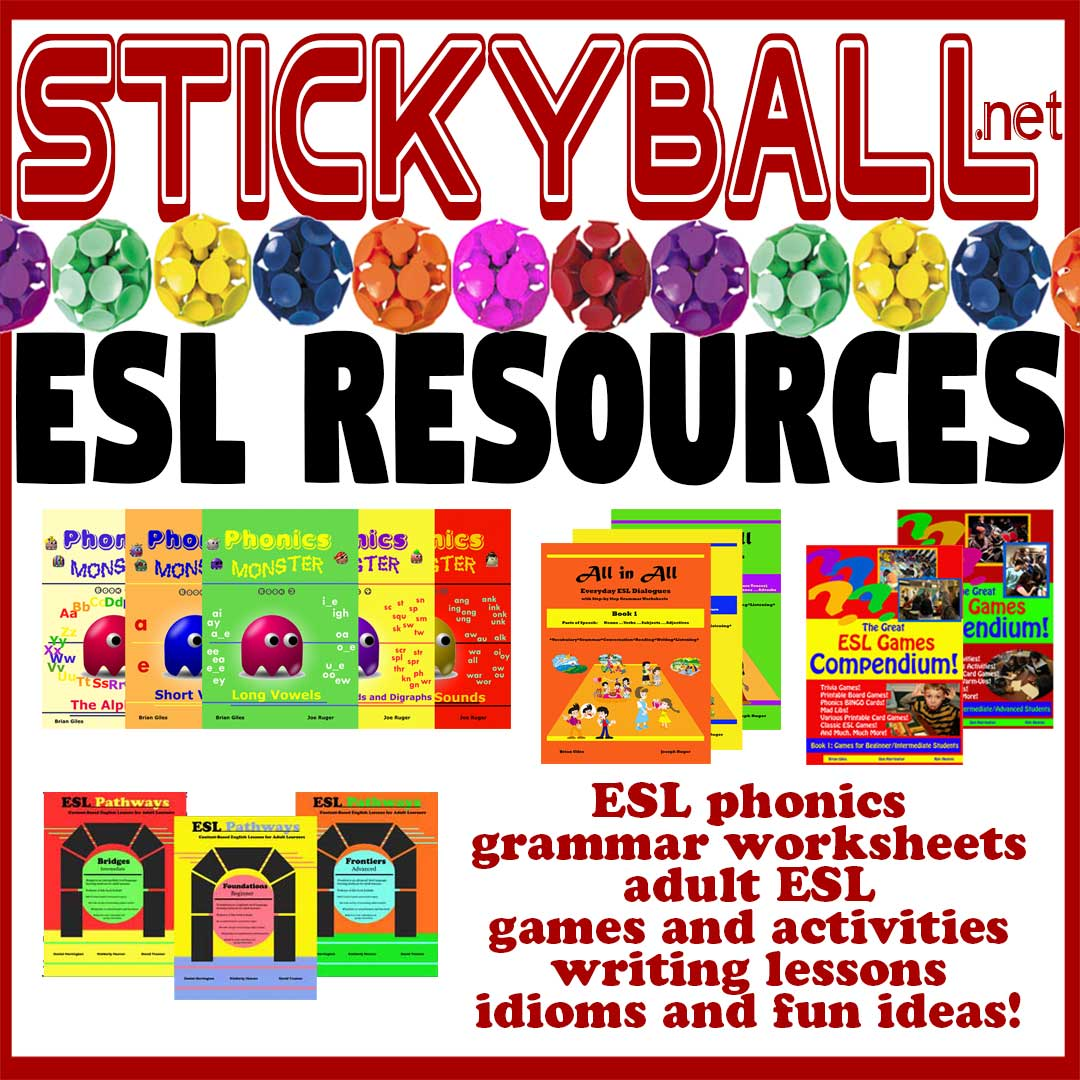 Esl Games Esl Games Activities And Fun Ideas Stickyball Esl Resources