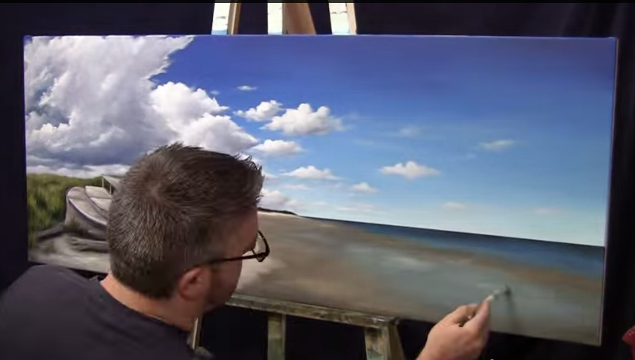 Pittura Acrilica Su Tela Video Dipingere L Acqua E Il Mare Acqua E Nuvole Video Tutorial