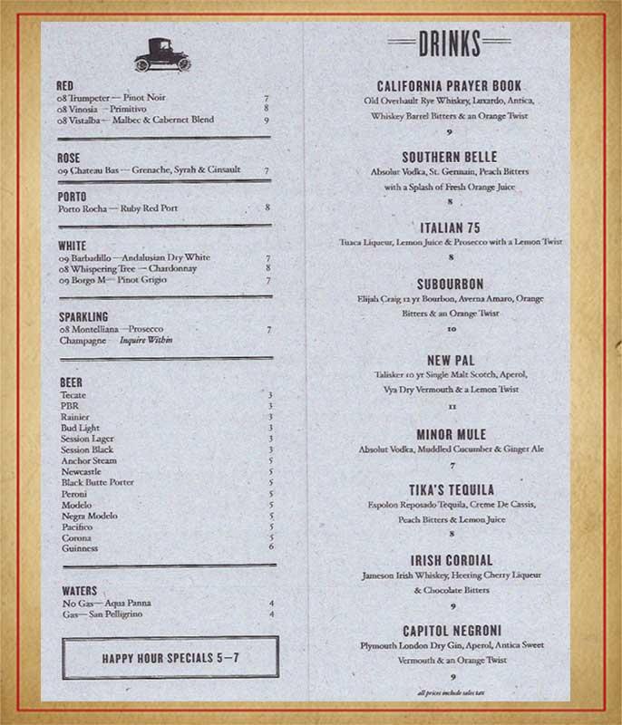 Still Liquor Menu - menu