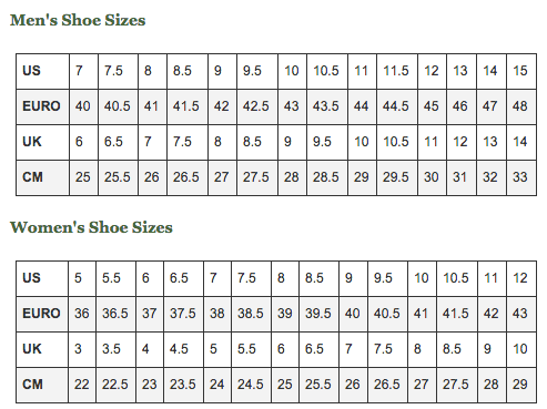 Vibram Shoe Size Chart Style Guru Fashion Glitz